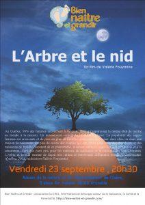 Affiche de l'Arbre et le bid avec les informations pratiques , 23 septembre 20h30, MNEI