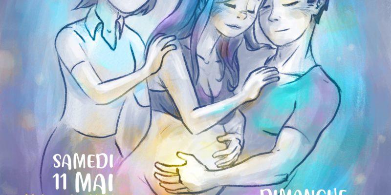 Affiche du week-end Acccouchement à domicile des 11 et 12 mai à Grenoble